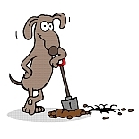 how to stop a dog from digging - cartoon of dog digging hole with a shovel