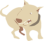 how to stop a puppy from biting - cartoon of dog snarling