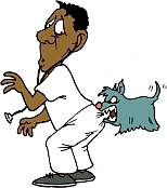 how to stop a puppy from biting - cartoon of dog biting vet's bum